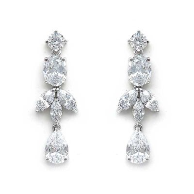 classic silver cz drop earrings