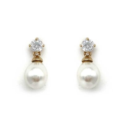 small gold pearl drop earrings
