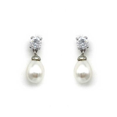 small silver drop pearl earrings