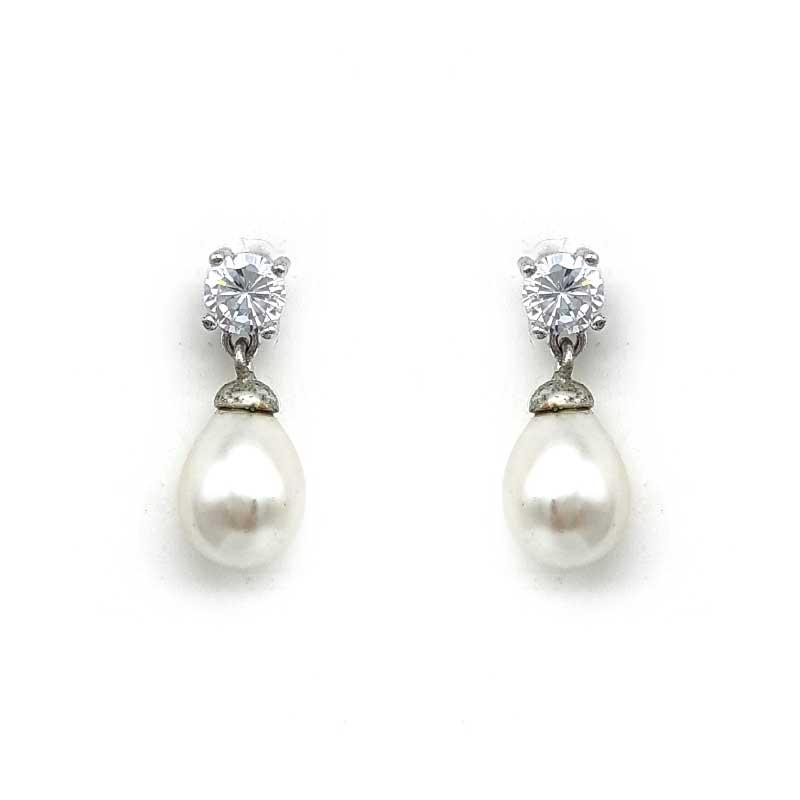 small silver drop pearl earrings