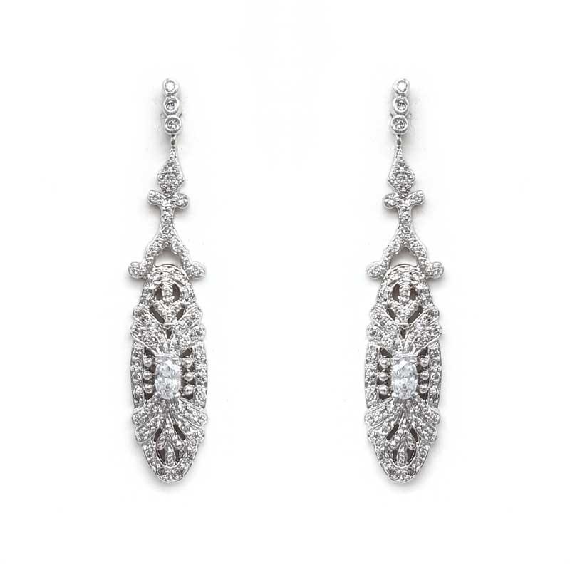 edwardian style silver bridal earrings