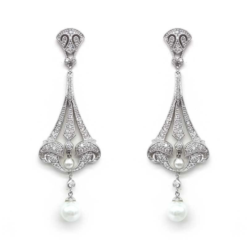 large silver drop pearl earrings