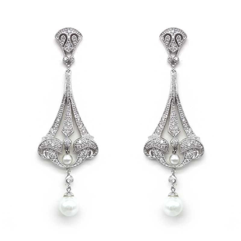 large silver drop pearl earrings
