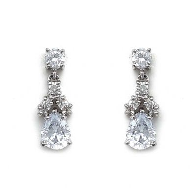 small cz drop earrings