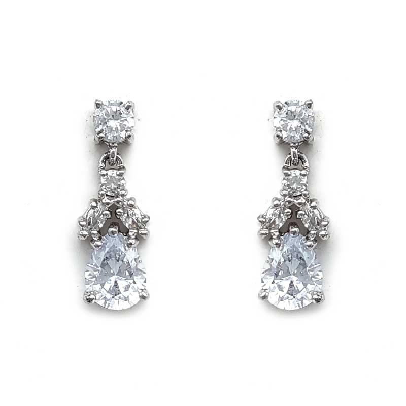 small cz drop earrings