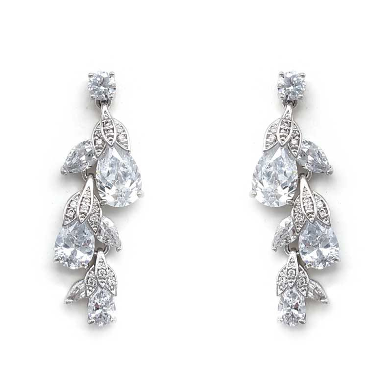 silver cz flower bud earrings