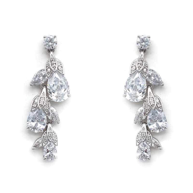 silver cz flower bud earrings