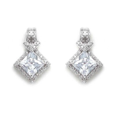 silver diamond shaped cz studs