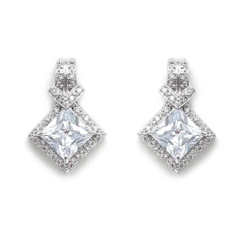 silver diamond shaped cz studs