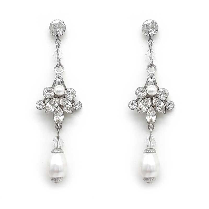 silver swarovski pearl and crystal earrings