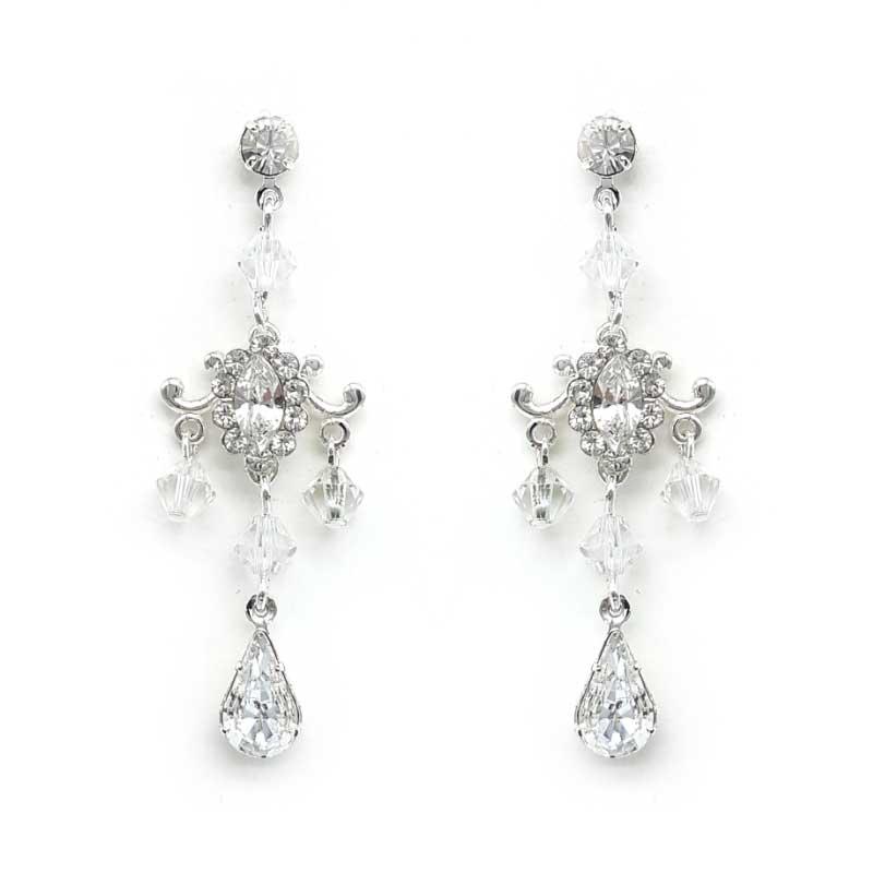 silver crystal chandelier earrings