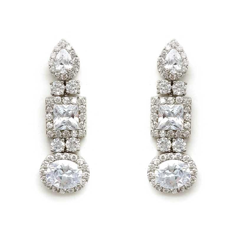 long silver bridal earrings