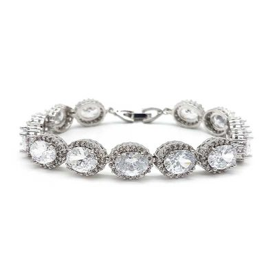 Silver oval shaped bridal bracelet
