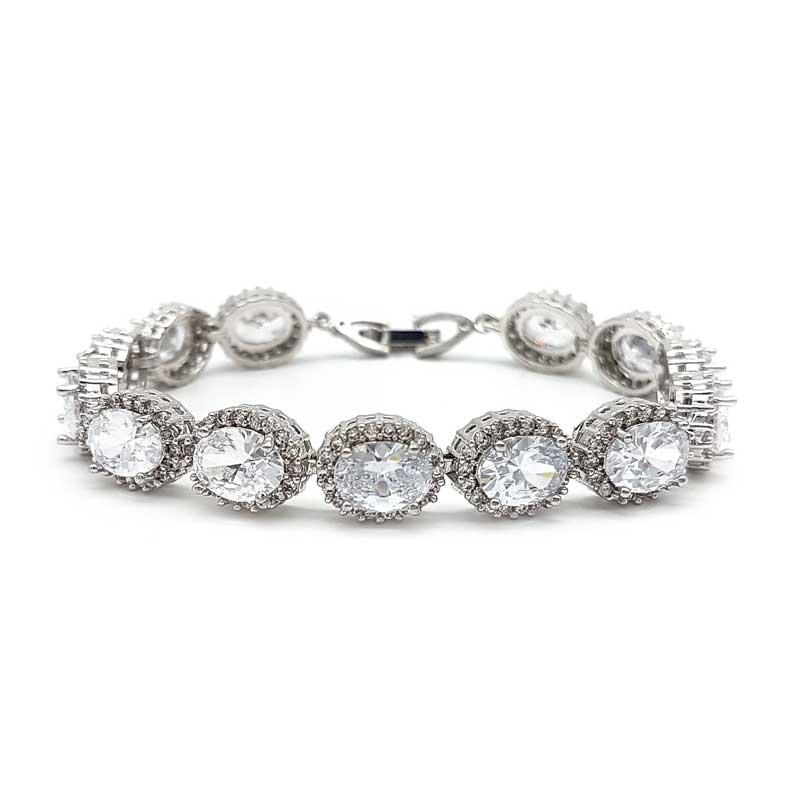 Silver oval shaped bridal bracelet