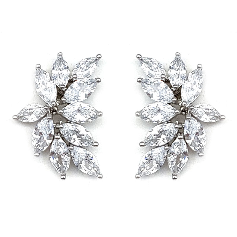 silver timeless bridal studs