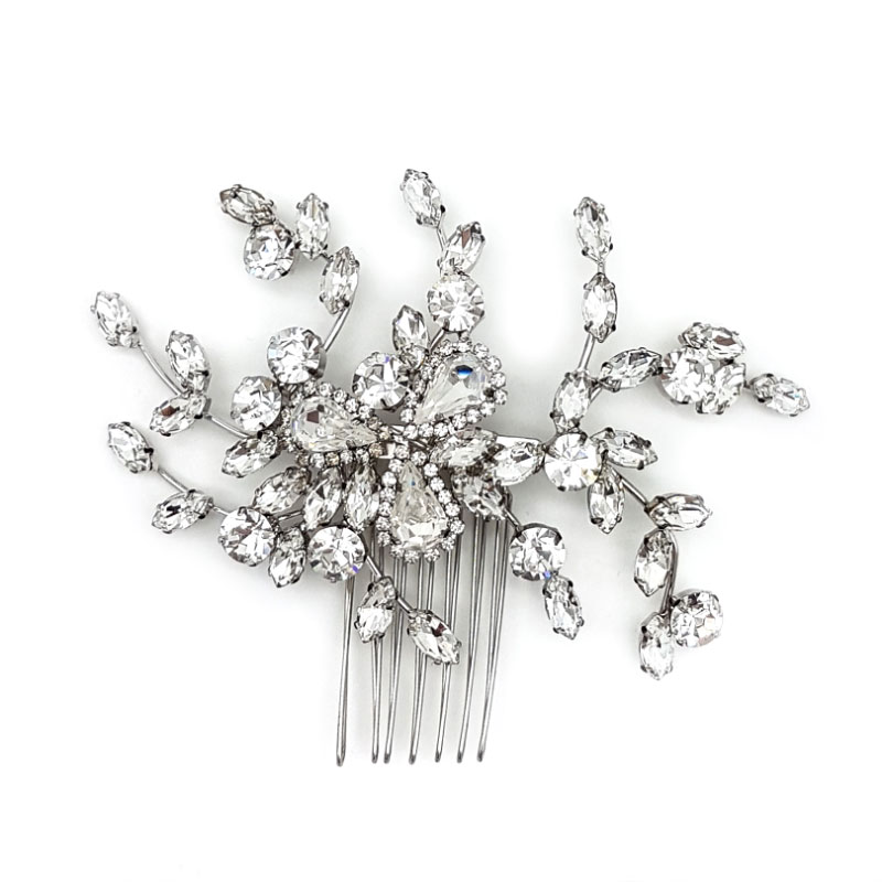silver austrian crystal bridal hair comb