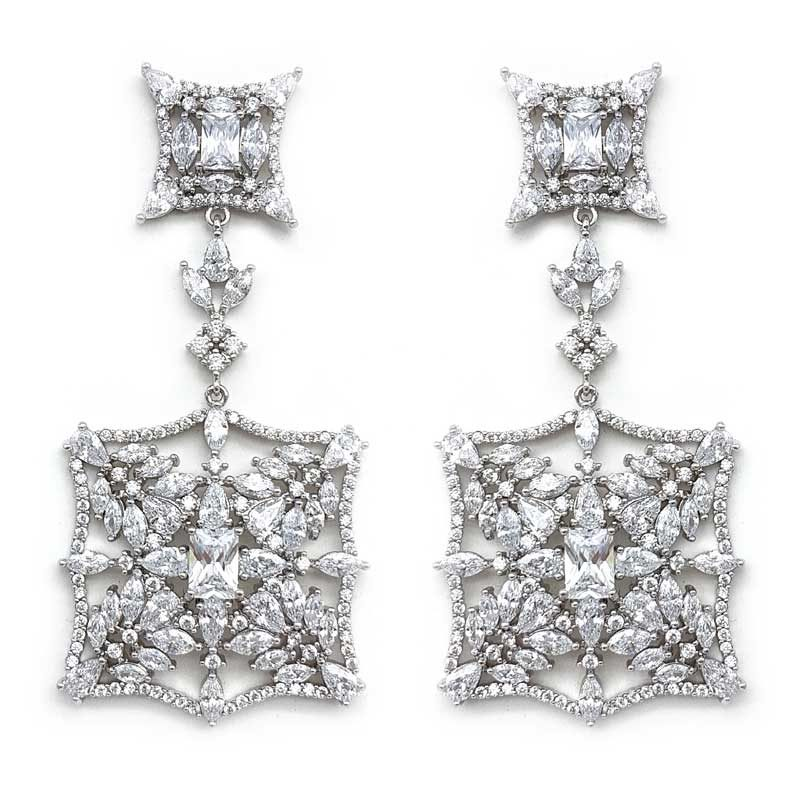 square vintage statement bridal earrings