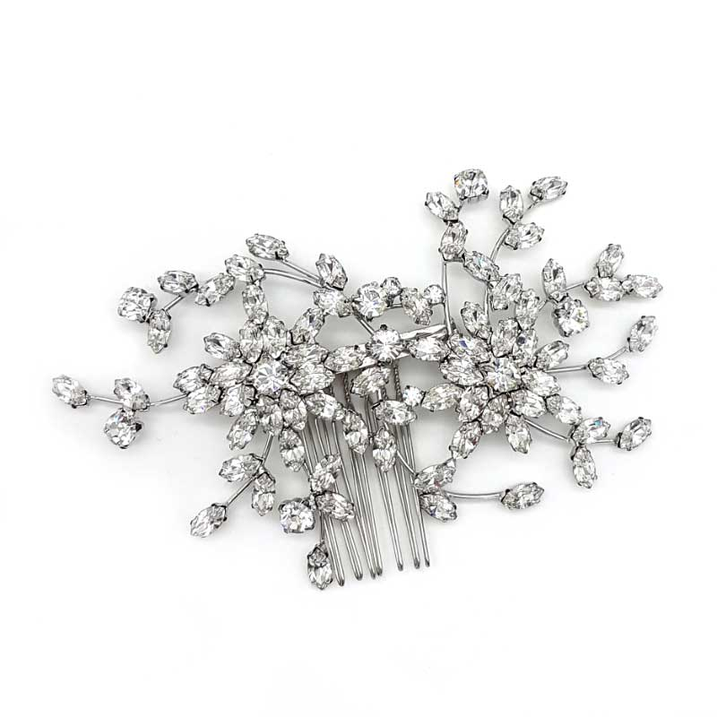 Silver bridal crystal comb