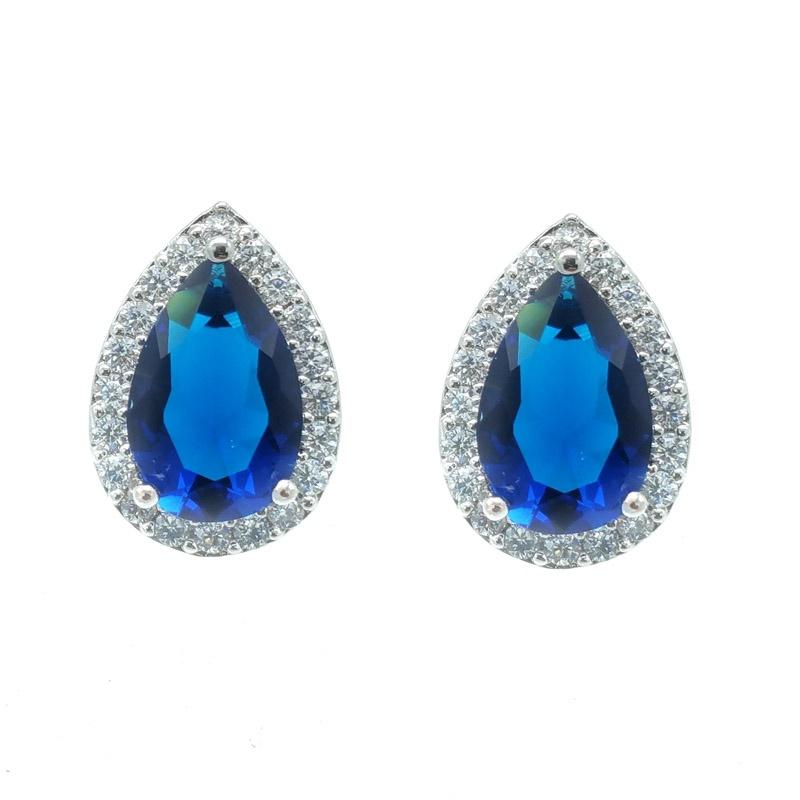 blue tear drop studs