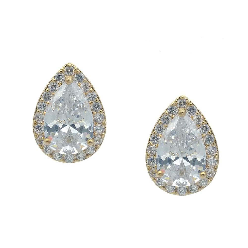 champagne gold tear drop earrings