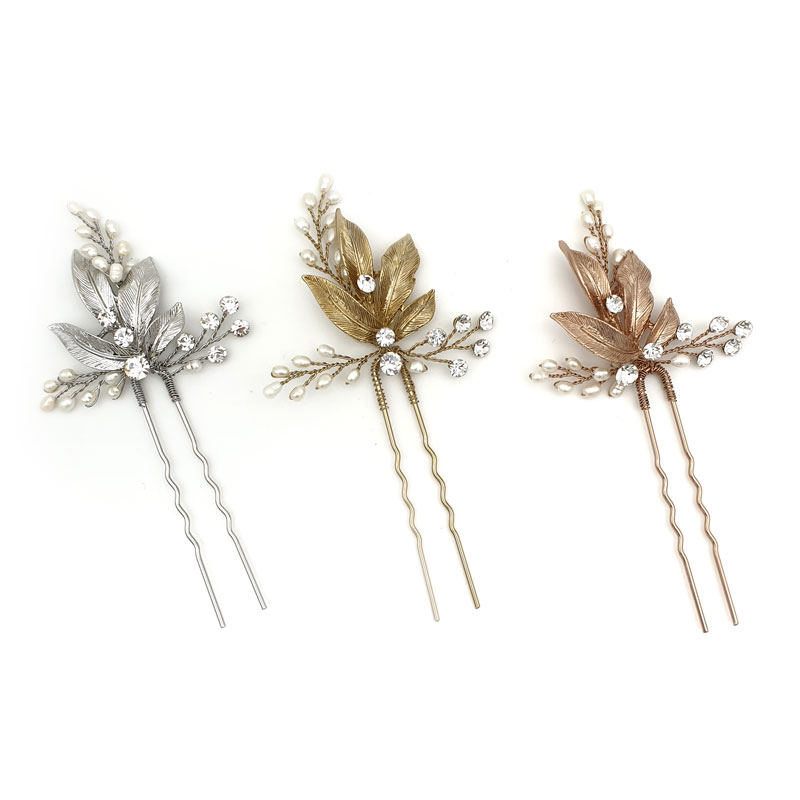 Silver, gold and rose gold fresh water pearl hair pins