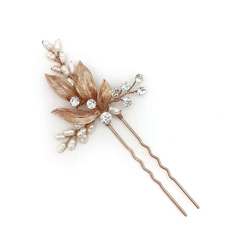 rose gold pearl hair pin