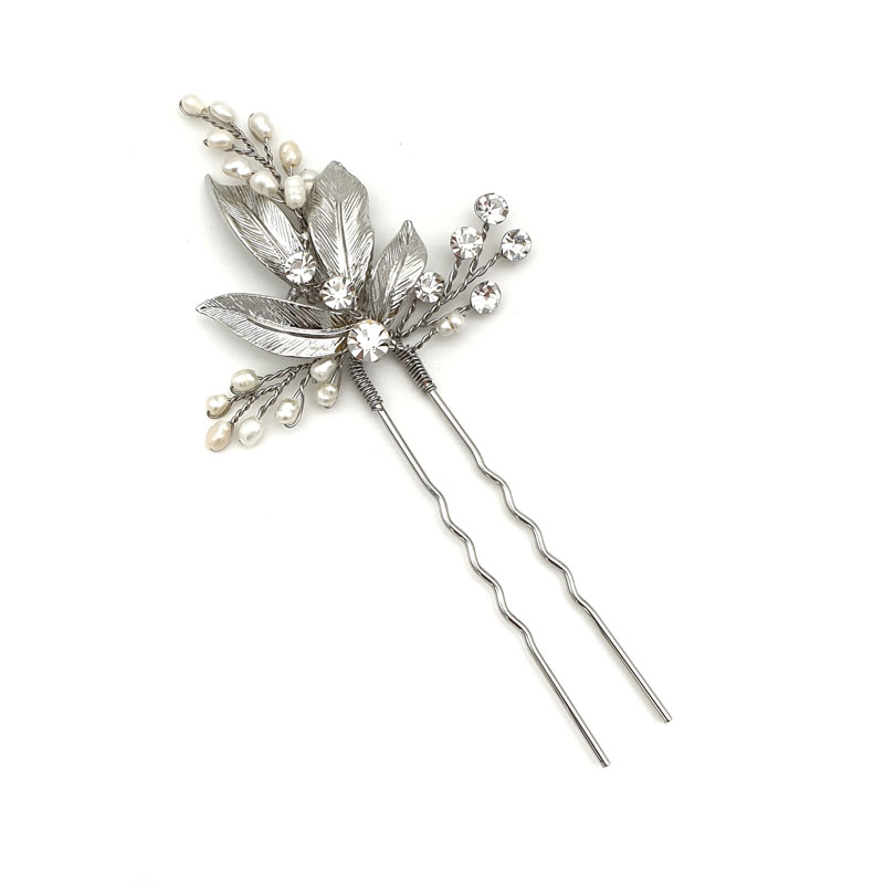 Silver fresh water pearl hair pins