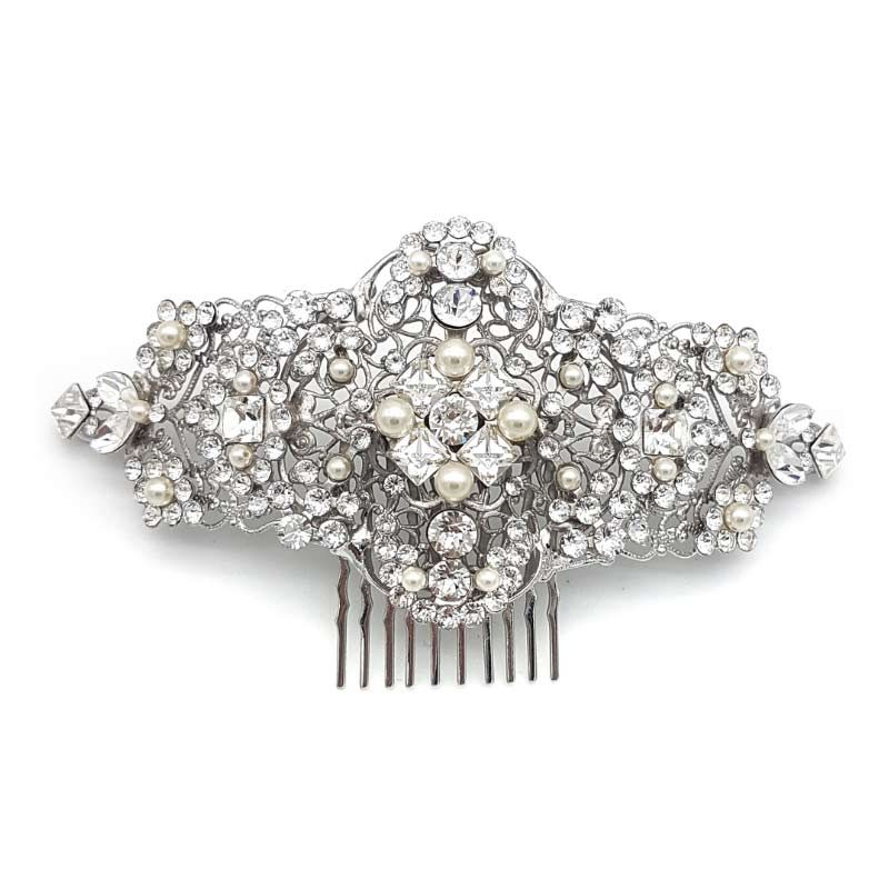 swarovski crystal and pearl bridal hair comb