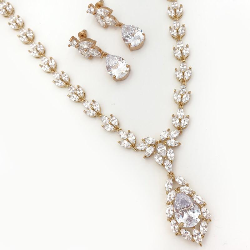 gold cz necklace set