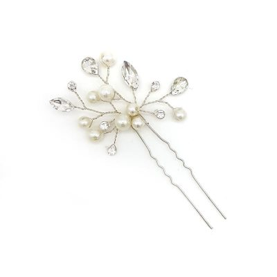 Silver crystal and pearl hair pin