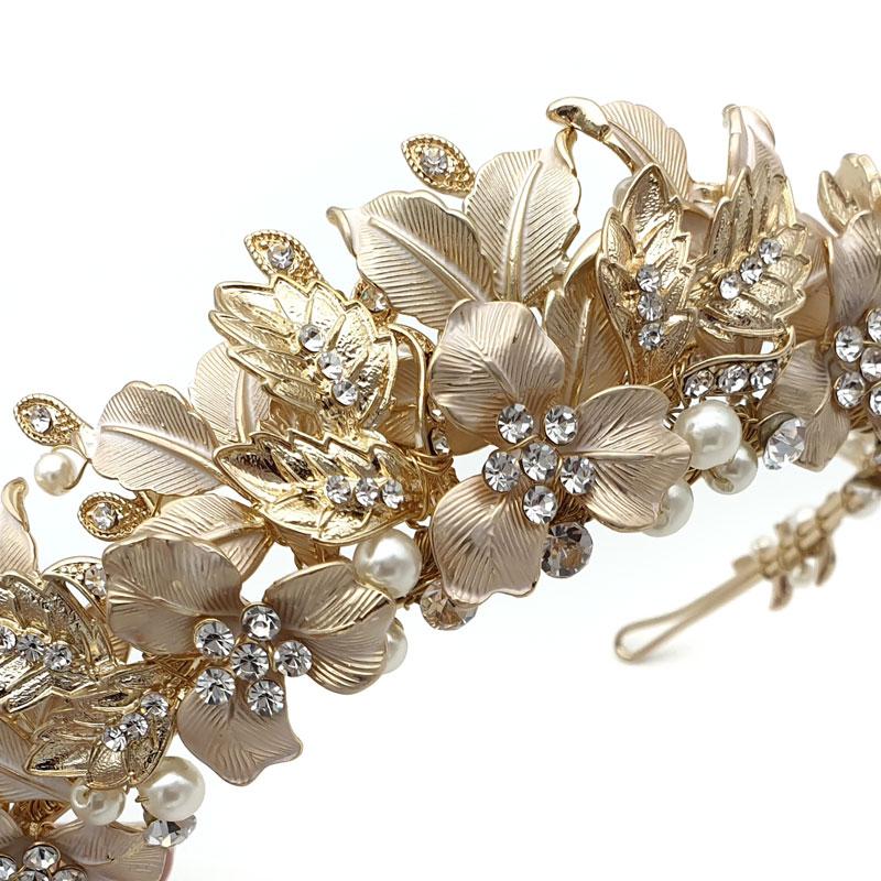 Gold floral leaf bridal crown