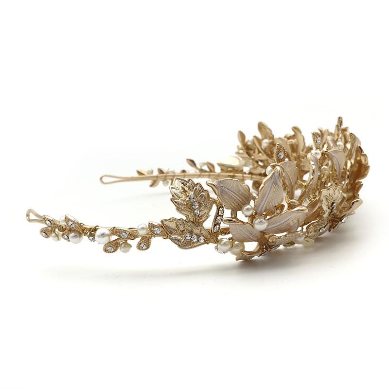 Gold floral wedding crown