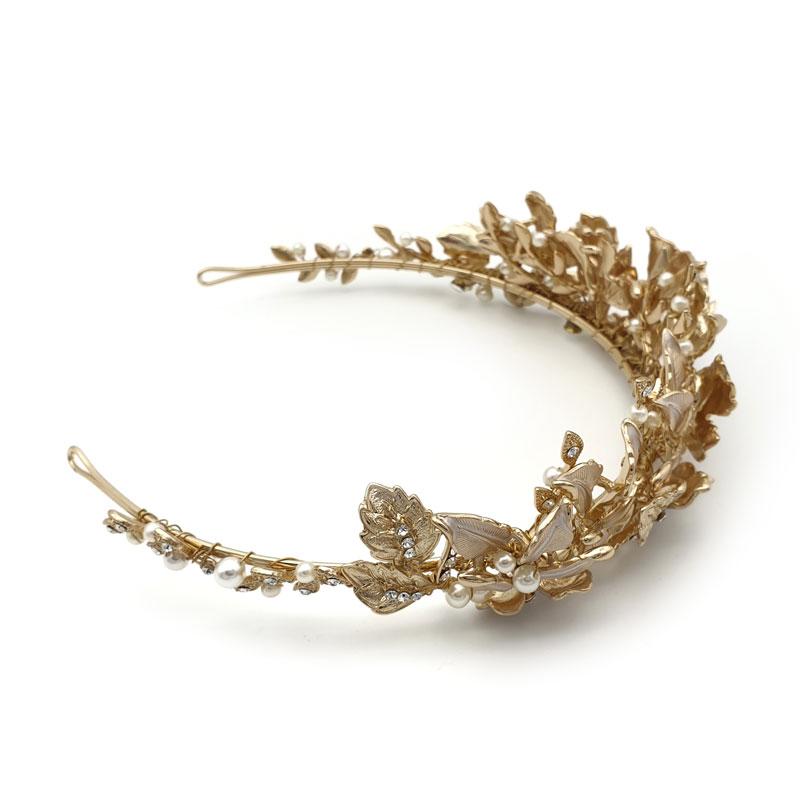 Gold leaf bridal tiara