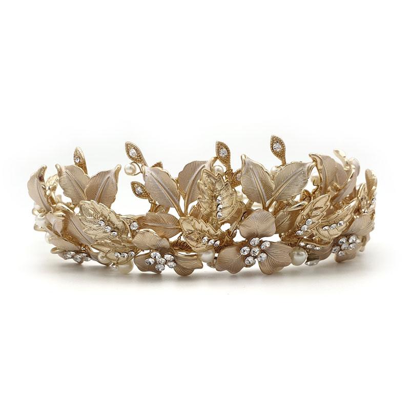 gold leaf floral bridal crown