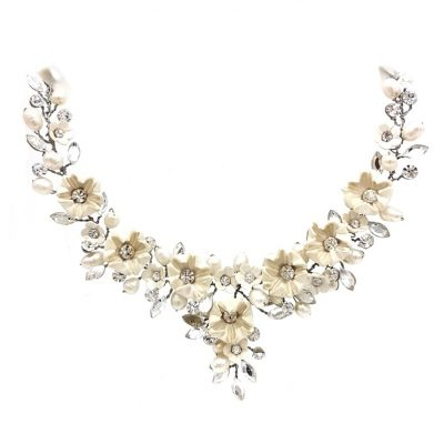 white blossom and crystal bridal necklace