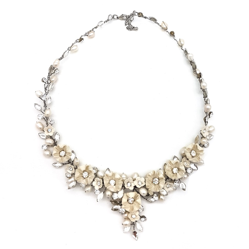 white blossom and crystal collar necklace