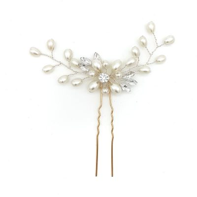 silver pearl and crystal bridal hair pin