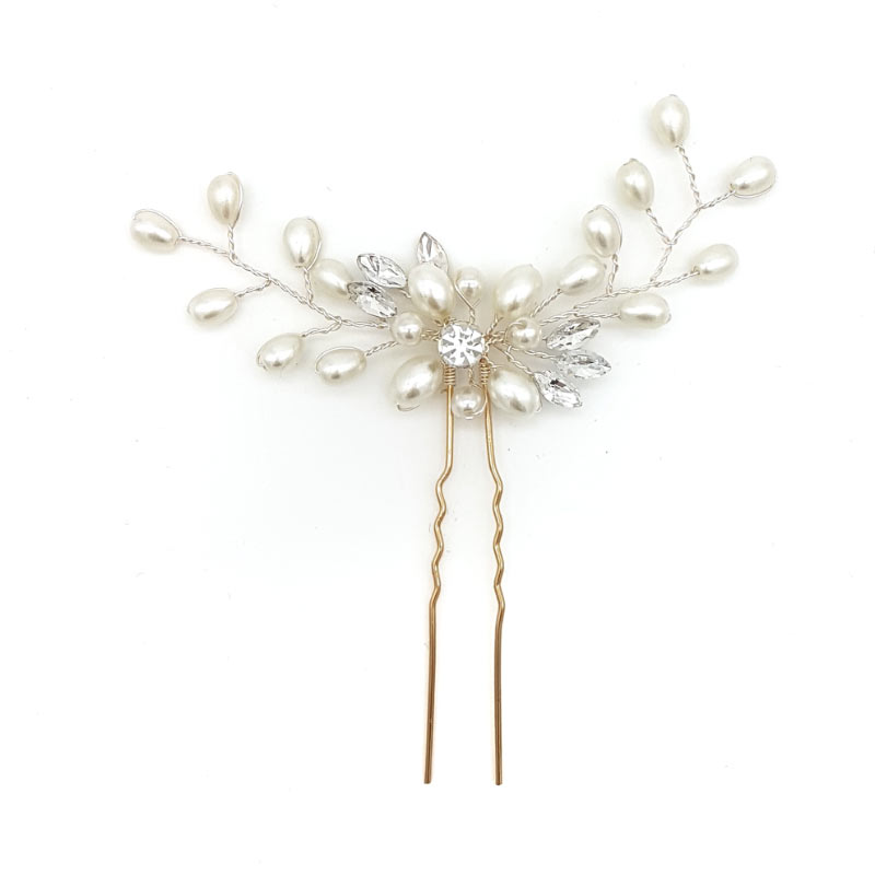silver pearl and crystal bridal hair pin
