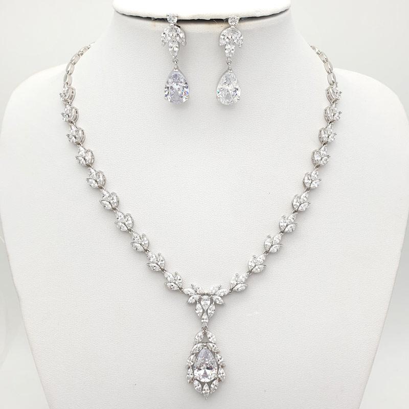 Silver bridal drop necklace set