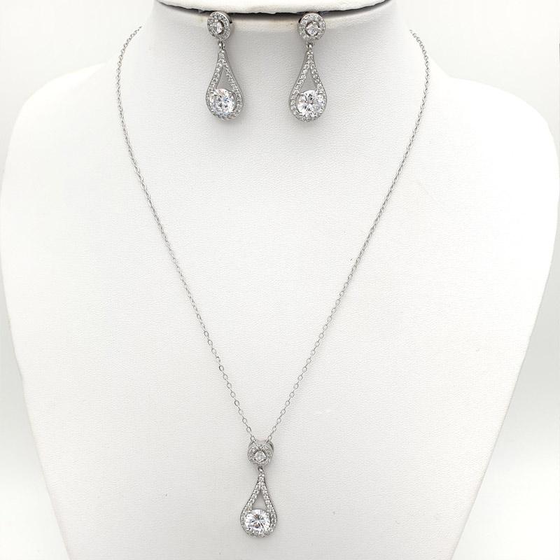 Silver drop bridal necklace set