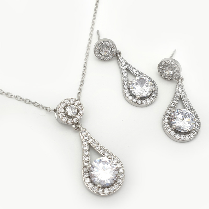 Silver drop pendant necklace set