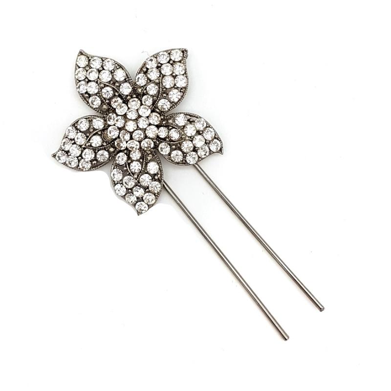silver flower diamante bridal hair pin