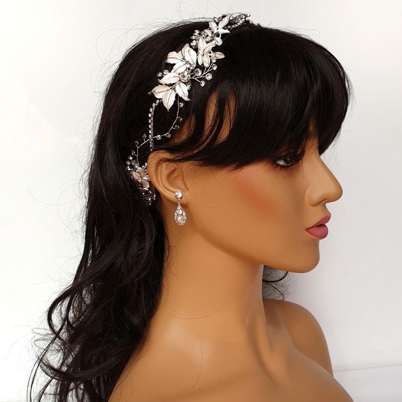 Silver leaf hair vine headband