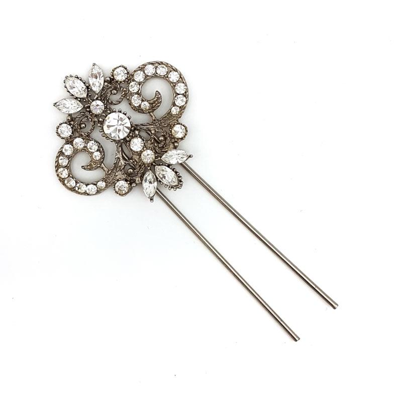 vintage silver swarovski crystal pins