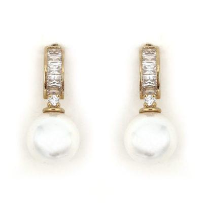 Gold pearl bridal earrings