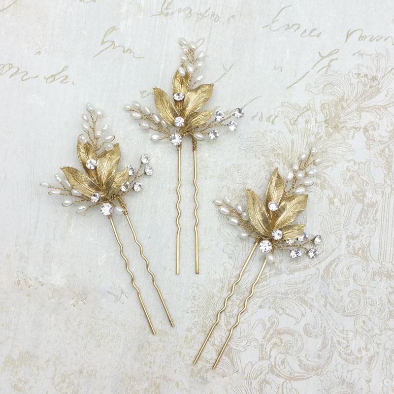gold leaf pearl hair pins