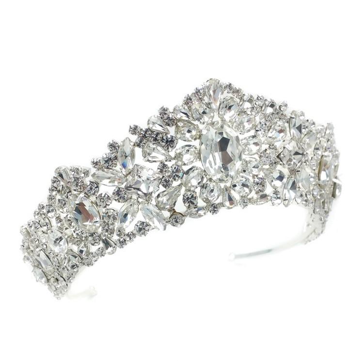 large silver crystal bridal tiara