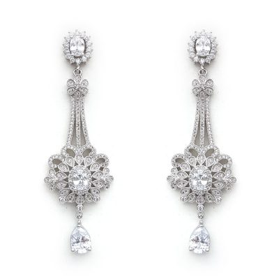 long silver bridal drop earrings