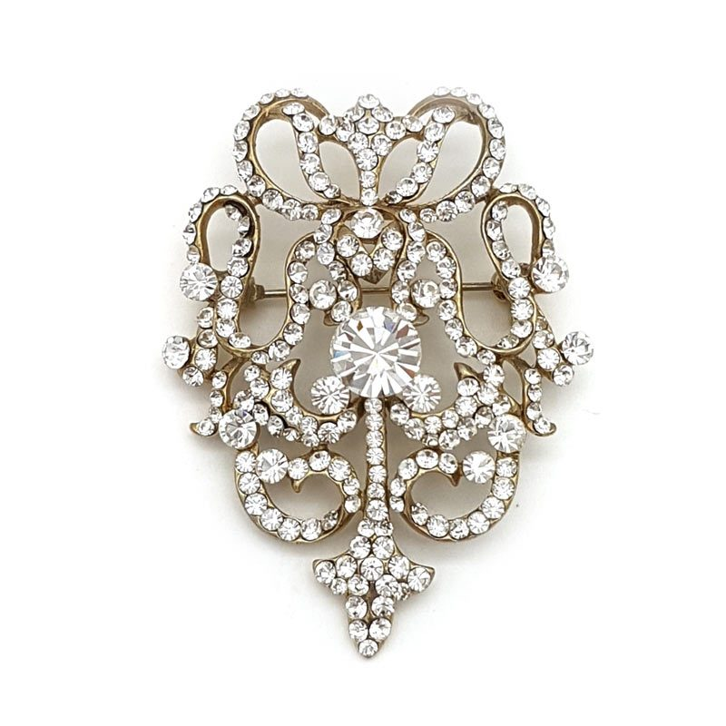 gold diamante bridal brooch