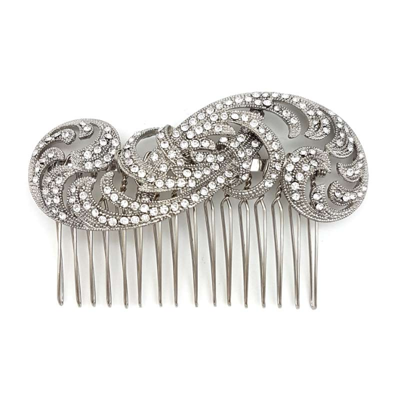 silver swirl vintage hair comb